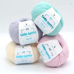 mezgimo siulai lana gatto baby soft merino vilna mezgimo priemones
